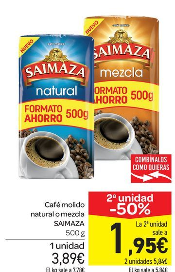 Oferta de Café molido natural o mezcla Saimaza 500 g por 3,89€
