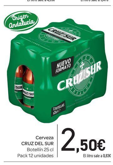 Oferta de Cerveza Cruz del Sur botellín 25 cl, pack 12 uds por 2,5€