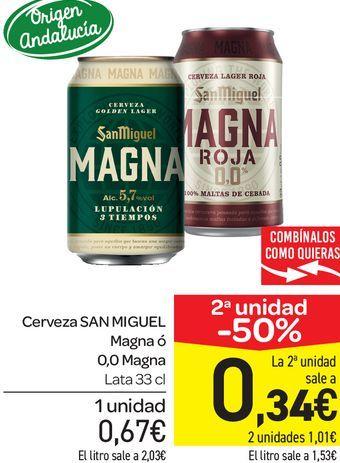 Oferta de Cerveza San Miguel Magna o 0,0 Magna lata 33 cl por 0,67€