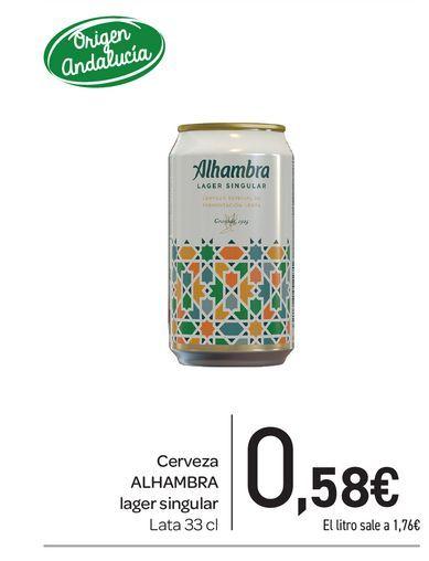 Oferta de Cerveza Alhambra lager singular, lata 33 cl por 0,58€