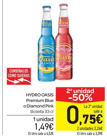 Oferta de HYDRO OASIS Premium Blue o Diamond Pink, botella 33 cl por 1,49€