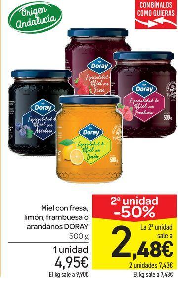 Oferta de Miel con fresa, limón, frambuesa o arándanos DORAY 500 g por 4,95€