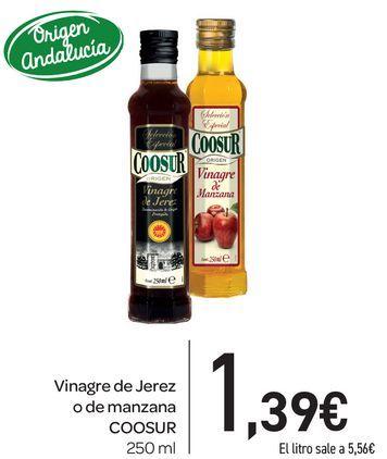 Oferta de Vinagre de Jerez o de manzana Coosur 250 ml por 1,39€
