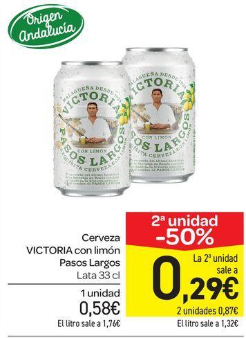 Oferta de Cerveza con limón Victoria Pasos Largos, lata 33 cl por 0,58€