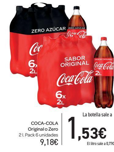 Oferta de  Coca-Cola Original o Zero 2 L, pack de 6 uds por 9,18€
