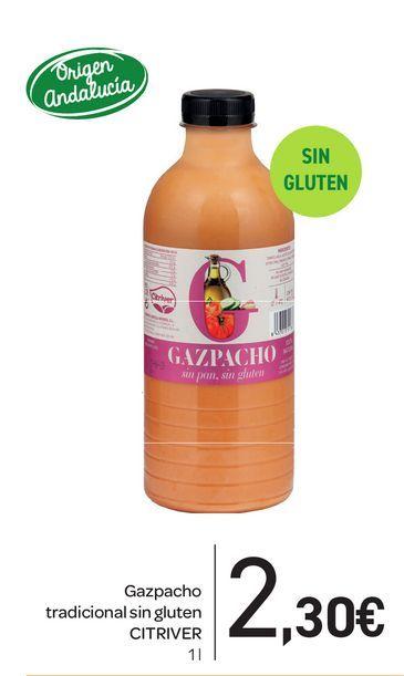 Oferta de Gazpacho tradicional sin gluten CITRIVER 1L por 2,3€