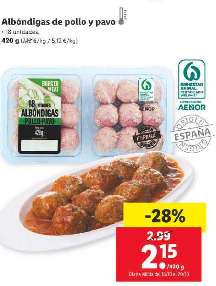 Oferta de Albóndigas de pollo por 2,15€