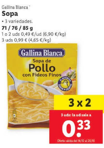 Oferta de Sopa Gallina Blanca por 0,49€