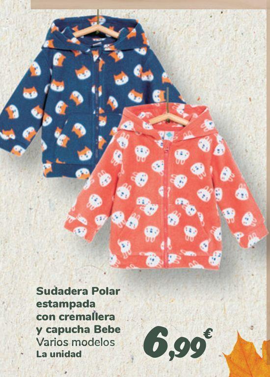 Oferta de Sudadera Polar estampada con cremallera y capucha Bebe por 6,99€
