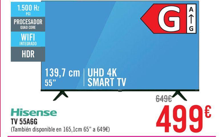 "Oferta de TV LED139,7 cm (55"") Hisense 55A6G, 4K UHD, Smart TV por 499€"