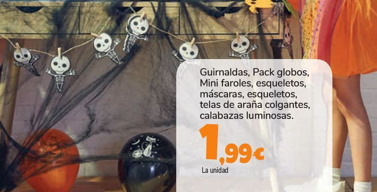 Oferta de Guirnaldas, Pack globos, Mini faroles, esqueletos, máscaras, esqueletos, telas de araña colgantes, calabazas luminosas por 1,99€