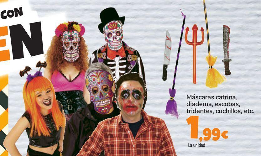 Oferta de Máscaras catrina, diadema, escobas, tridentes, cuchillos, etc. por 1,99€