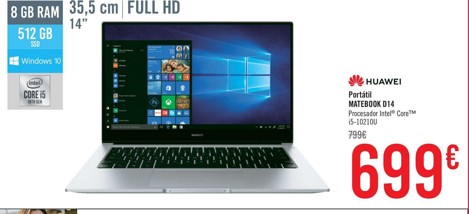 Oferta de Huawei Portátil Matebook D14 por 699€