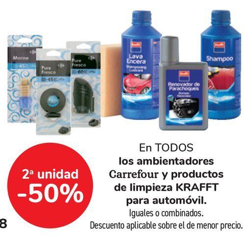 Oferta de En TODOS los ambientadores Carrefour y productos de limpieza KRAFFT para automóvil por
