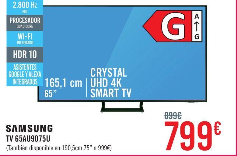 """Oferta de TV LED 165,1 cm (65"""") Samsung 65AU9075, 4K UHD, Smart TV por 799€"""