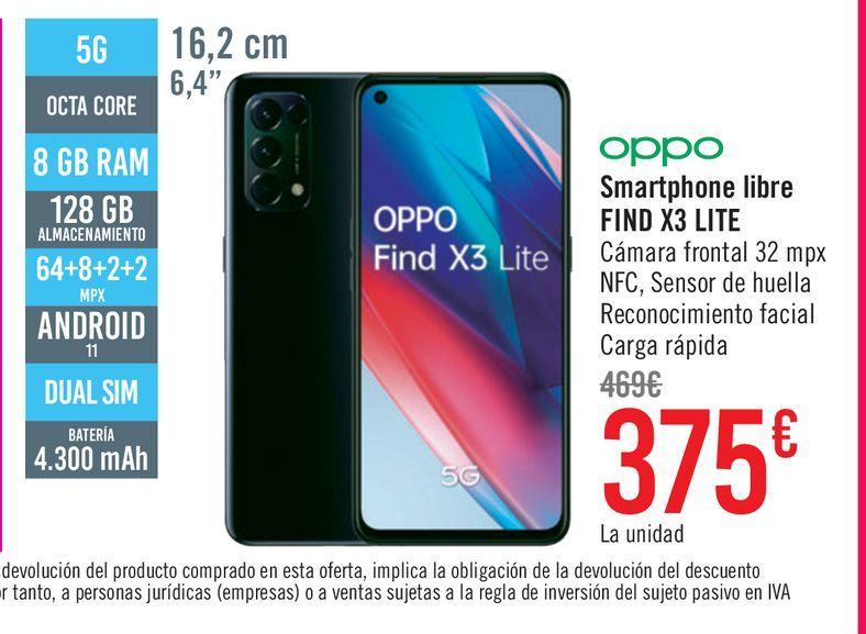 Oferta de Móvil Oppo Smartphone libre Find X3 Lite 5G por 375€