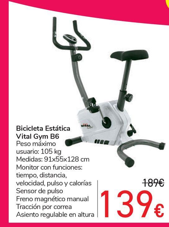 Oferta de Bicicleta Estática Vital Gym B6 por 139€