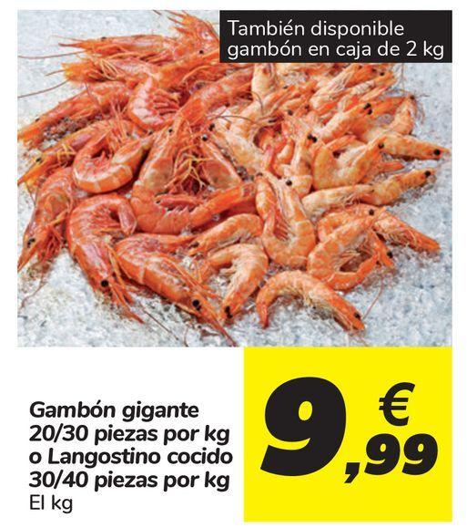 Oferta de Gambón gigante 20/30 piezas o Langostino cocido 30/40 piezas por 9,99€