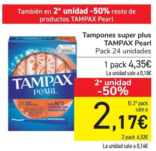Oferta de Tampones super plus TAMPAX Pearl  por 4,35€