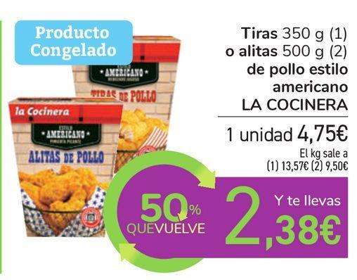 Oferta de Tiras o alitas de pollo estilo americano LA COCINERA  por 4,75€