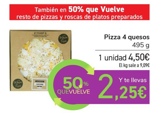 Oferta de Pizza 4 quesos  por 4,5€