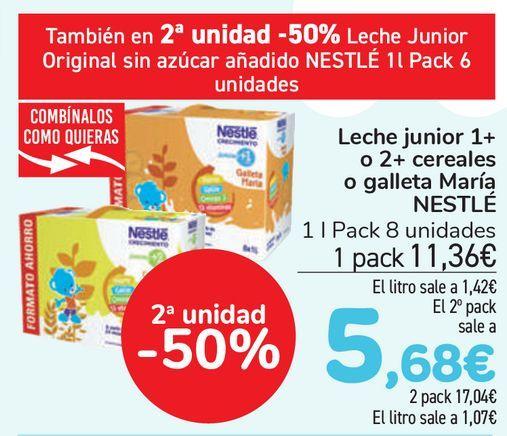 Oferta de Leche junior 1+ o 2+ cereales o galletas María NESTLÉ  por 11,36€