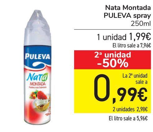 Oferta de Nata Montada PULEVA Spray  por 1,99€