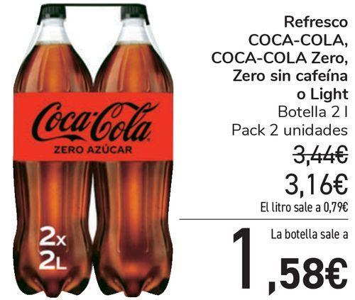 Oferta de Refresco COCA-COLA, COCA-COLA Zero, Zero sin cafeína o light  por 3,16€