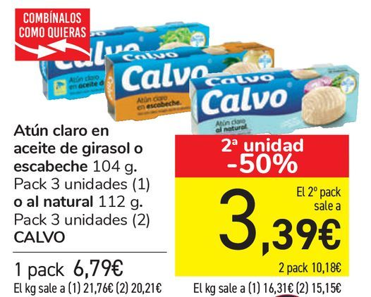 Oferta de Atún claro en aceite de girasol o escabeche o al natural CALVO  por 6,79€