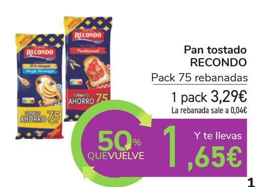 Oferta de Pan tostado RECONDO  por 3,29€