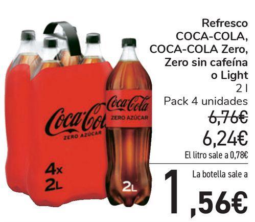 Oferta de Refresco COCA-COLA, COCA-COLA Zero, Zero sin cafeína o light  por 6,24€