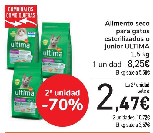 Oferta de Alimento seco para gatos esterilizados o junior ULTIMA  por 8,25€