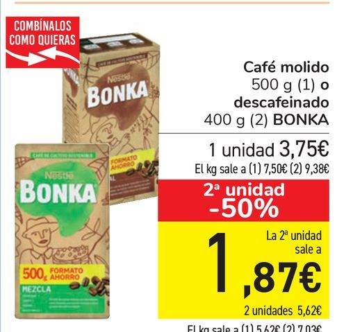 Oferta de Café molido o descafeinado BONKA  por 3,75€