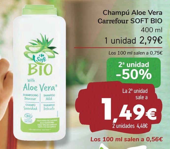Oferta de Champú Aloe Vera Carrefour SOFT BIO  por 2,99€