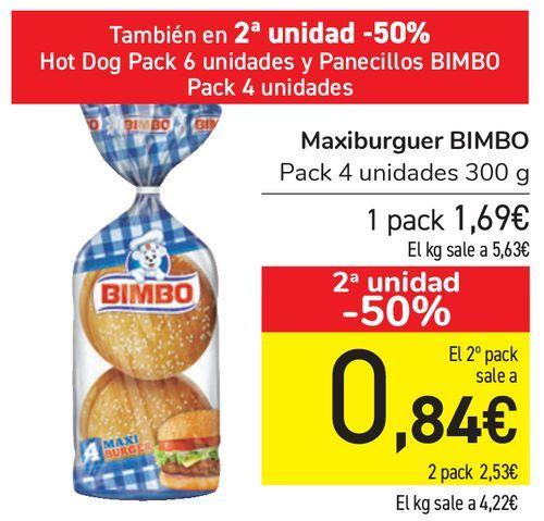 Oferta de Maxiburger BIMBO  por 1,69€