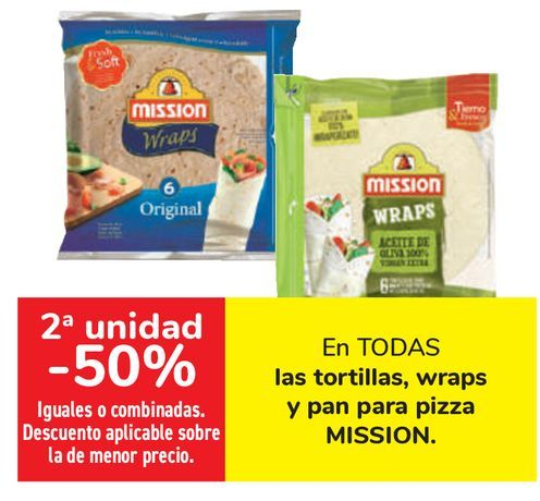 Oferta de En TODAS las tortillas, wraps y pan para pizza MISSION  por