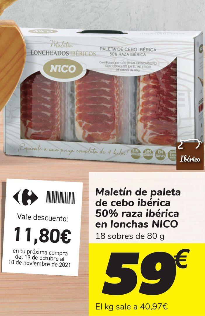 Oferta de Maletín de paleta de cebo ibérica en lonchas NICO  por 59€
