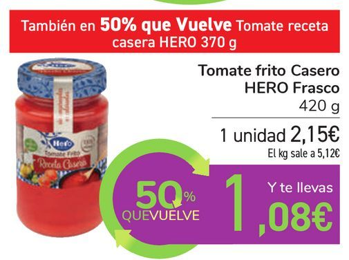 Oferta de Tomate frito Casero HERO Frasco por 2,15€