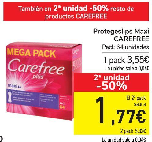 Oferta de Protegeslip Maxi CAREFREE  por 3,55€