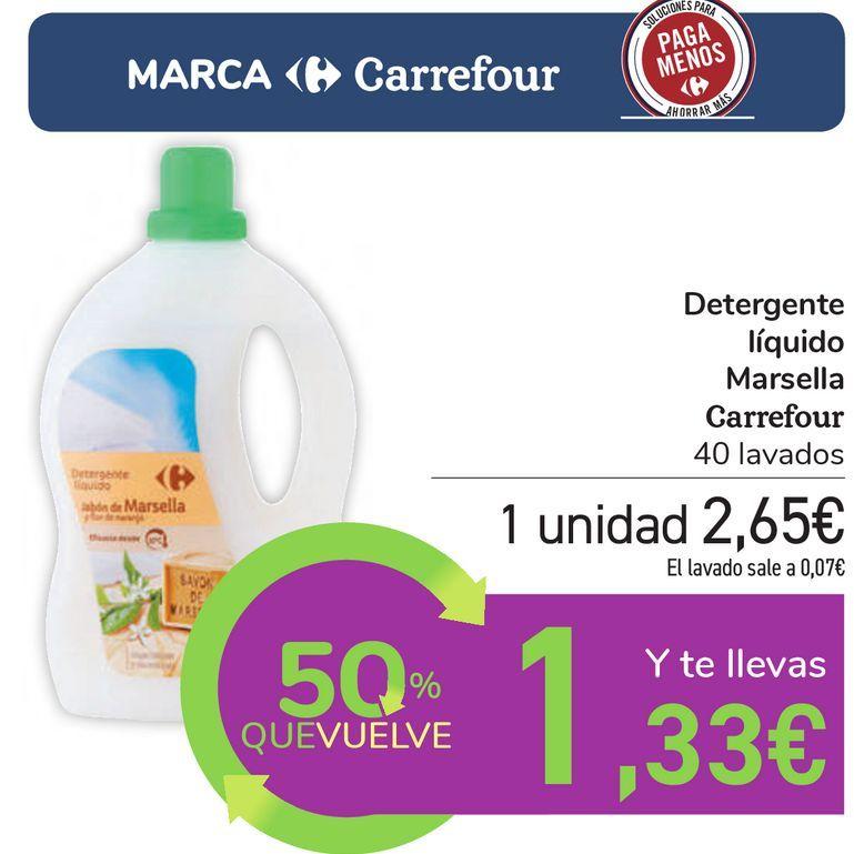 Oferta de Detergente líquido Marsella Carrefour por 2,65€