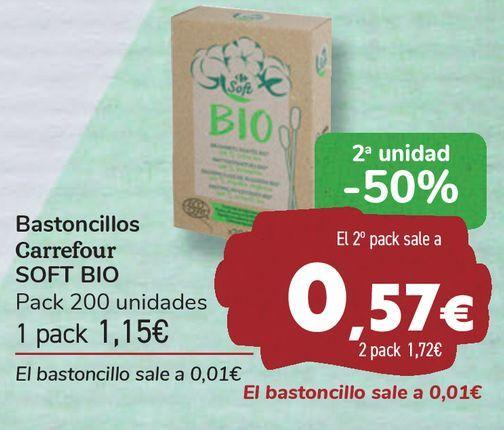 Oferta de Bastoncillos Carrefour SOFT BIO  por 1,15€