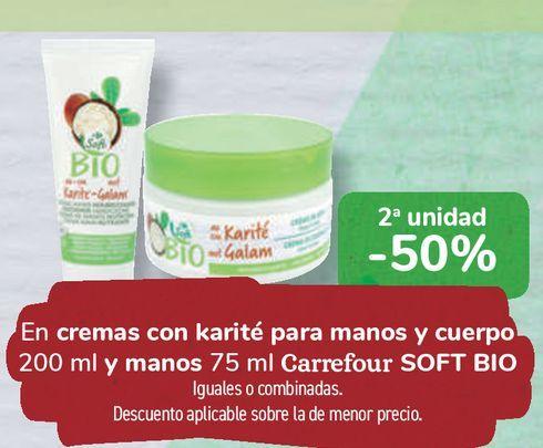 Oferta de En cremas con karité para manos y cuerpo y manos Carrefour SOFT BIO por