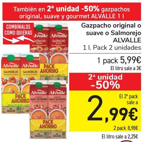 Oferta de Gazpacho original o suave o Salmorejo ALVALLE  por 5,99€