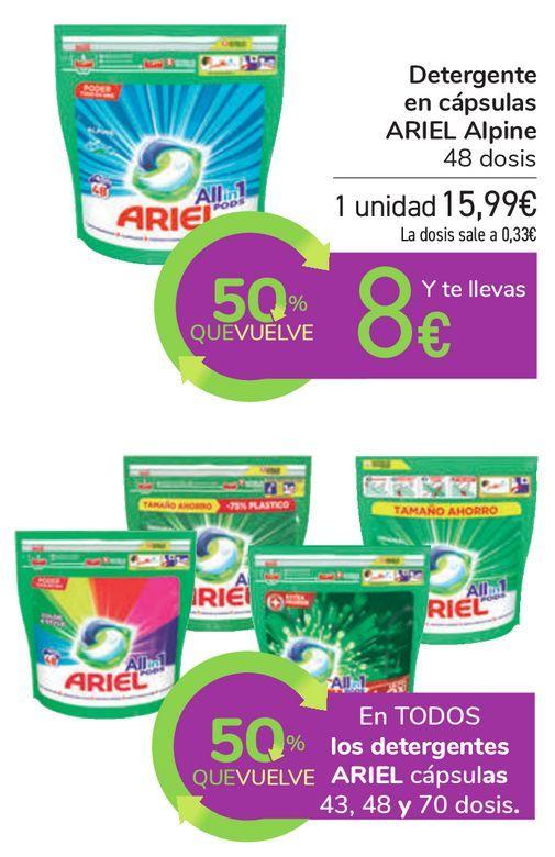 Oferta de En TODOS los detergentes ARIEL cápsulas 43, 48 y 70 dosis por