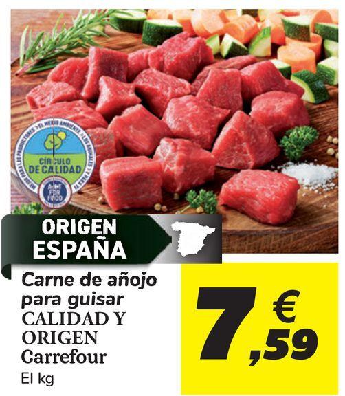 Oferta de Carne de añojo para guisar CALIDAD Y ORIGEN Carrefour  por 7,59€