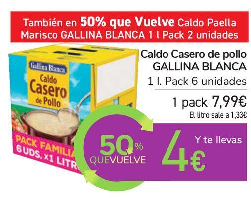 Oferta de Caldo Casero de pollo GALLINA BLANCA  por 7,99€