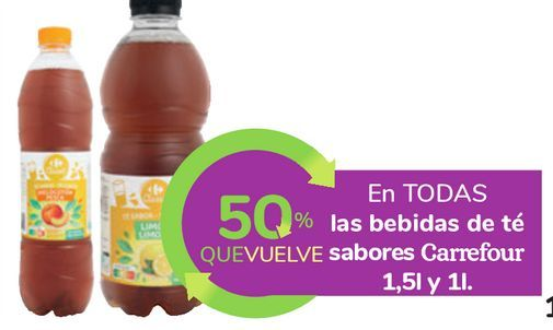 Oferta de En TODAS las bebidas de té sabores Carrefour  por
