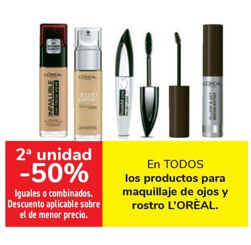 Oferta de En TODOS los productos para maquillaje de ojos y rostros L'OREAL  por
