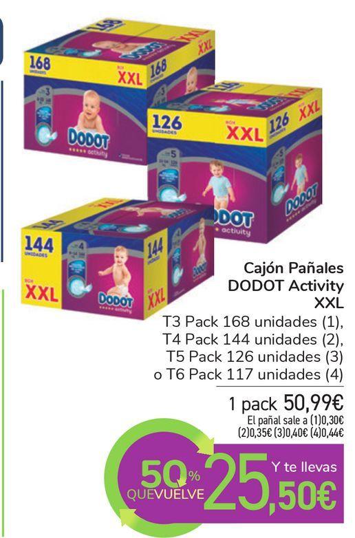 Oferta de Cajón Pañales DODOT Activity XXL por 50,99€