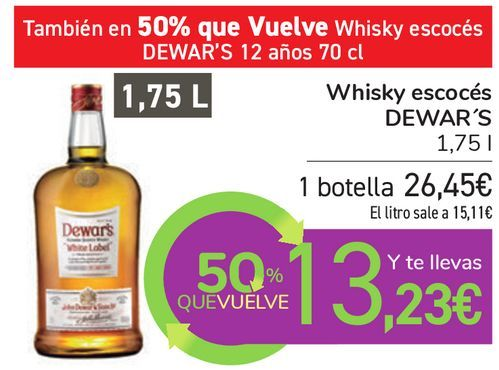Oferta de Whisky escocés DEWAR'S  por 26,45€